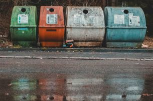 Some recycling bins