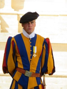 A Swiss Guard like the three Catholic debt-collectors in Lancaster